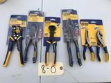 Group of 6 NIB Irwin Pliers, sidecuts, strippers and more