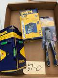 Irwin Post Level, Drill Bit Set and a pair of Sidecuts