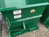 Forklift tipping dumpster, unused