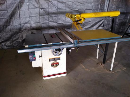 16018- Jet 10'' Tablesaw w/52'' fence, Includes a overhead blade guard.