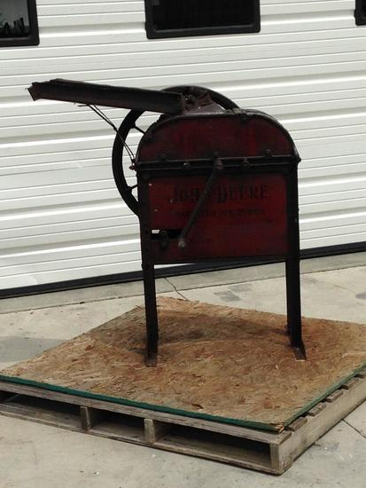 John Deere corn sheller, original wood side boards