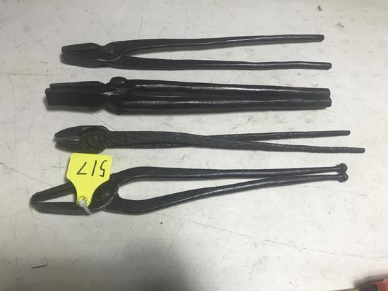 4 pair Blacksmith tongues, selling all one money
