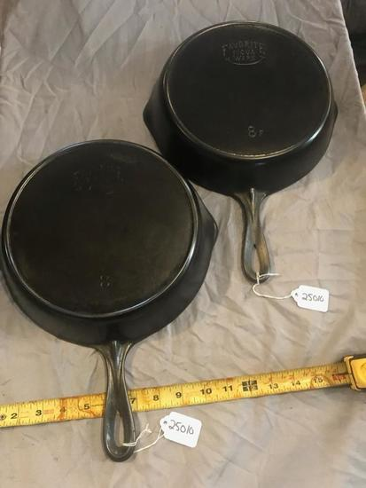 2 Favorite #8 Cast Iron Skillets, selling times the money