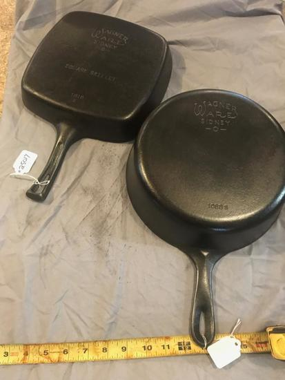 Wagner #8 Chicken Skillet and Wagner #1218 Square Cast Iron Skillets, selling times the money