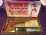 Kit Karson Kit Plumb Scout Axe and Knife in original box, good condition