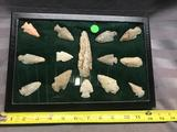 14 Arrowheads, from Hardin County Ohio, in frame and nicely displayed