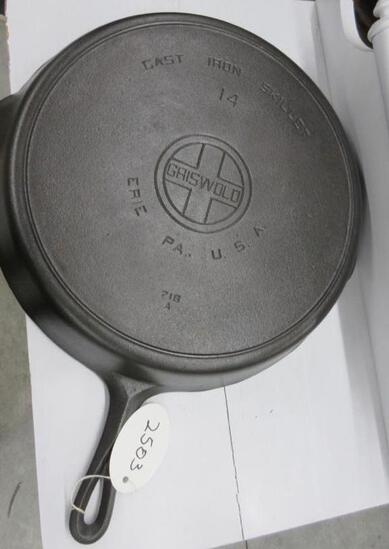 Griswold #14 718A Cast Iron Skillet Large Block logo