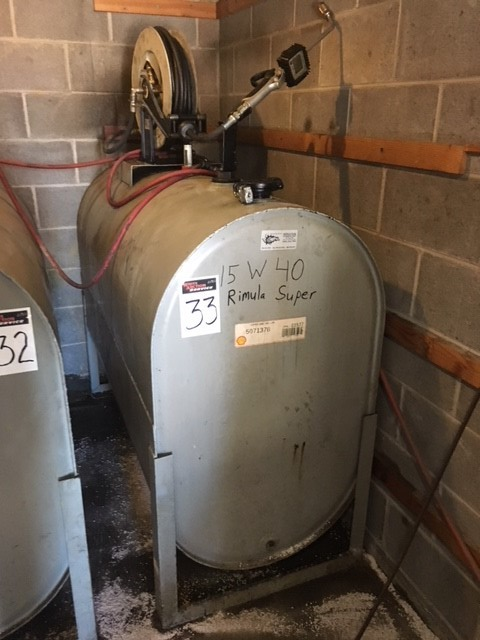 275 gallon Oil tank w/hose reel and electric pump, 15W40 oil
