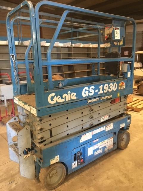 Genie GS-1930, Sunstate Equipment,  two person scissor lift, 500 lb cap.