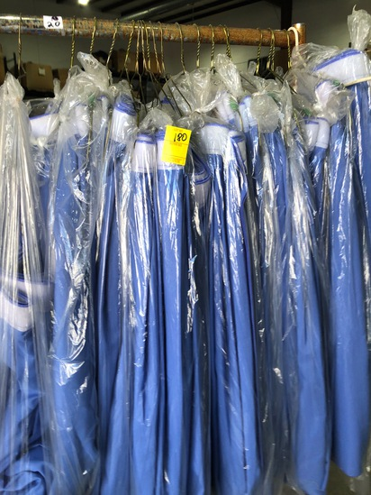 20 BLUE TABLE SKIRTS, X $