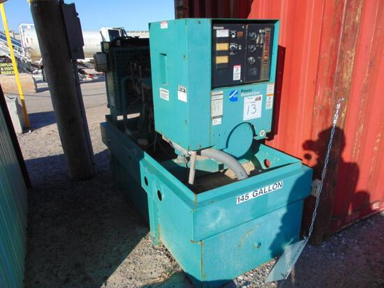 Cummins 50K Powe Generator Skidded, s/n I020411825, 145 gallon diesel tank, hour meter reads 1665