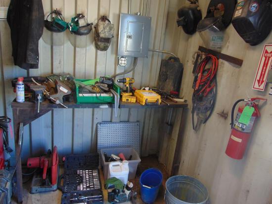 Assorted Shop Items - dewalt drill, cutoff saw, table w/vise, assorted welding helmets & shields,
