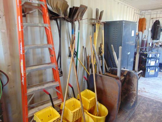 Assorted Tools- Rakes, Shovels, Ladder, Weedeater, (2) Wheel barrows, mop buckets, Located in Thomas