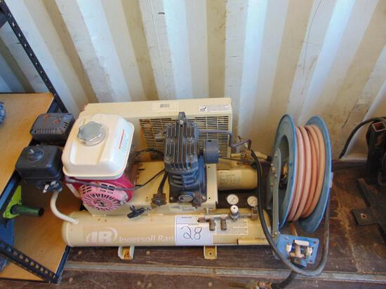 Ingersoll Rand Air Compressor, gas eng, 9 gallon tank, w/air hose, Located in Thomas Ok