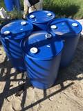 (4) 30 GAL PLASTIC BLUE BARRELS