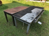 (2) METAL TABLES 5 & 6FT W/DRAWERS