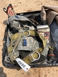 SUITCASE OF SUITS, MILITARY HOLSTERS, DECORATIVE