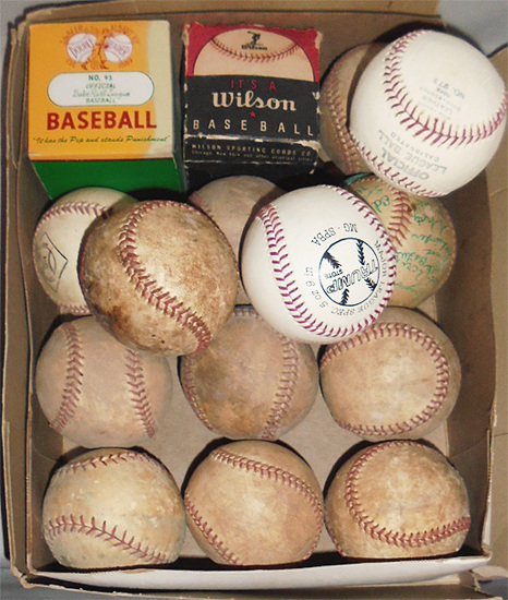 -Huge- Vintage -Baseballs- Group w/Autographs & Boxes