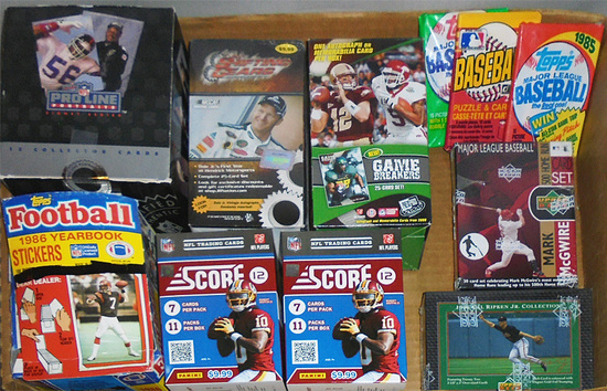 Huge -Football & Baseball Cards- Sports Memorabilia Box & Pack Lot