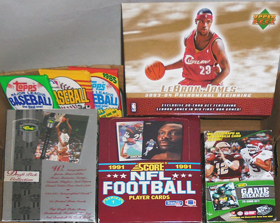 Huge -Football/Baseball/Basketball Cards- Sports Memorabilia Box & Pack Lot