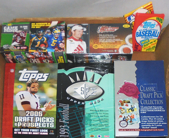 Huge -Football/Baseball Cards- Sports Memorabilia Box & Packs Lot