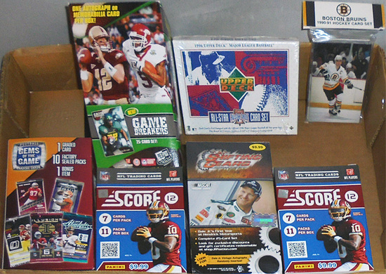 Huge -Football/Baseball/Hockey Cards- Sports Memorabilia Box & Pack Lot