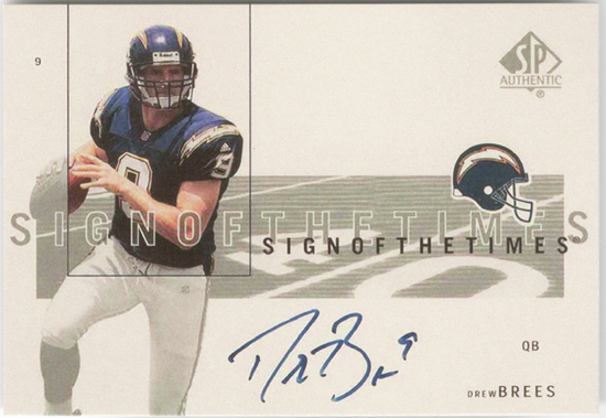 2001 -Drew Brees- SP Authentic Autograph Football Rookie Card