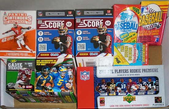 Huge -Football/Baseball Cards- Sports Memorabilia Box & Pack Lot