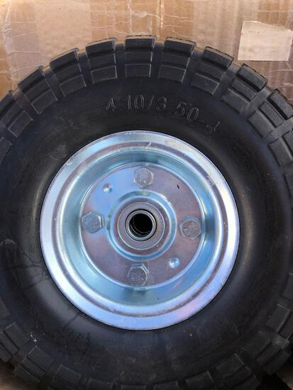 4- Hard Tires for Hand Truck 4.10/3.5 x 4 sold as 1 lot