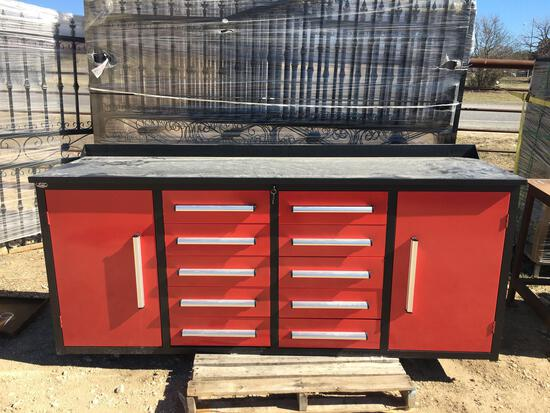 Red 7' Work Bench Tool Cabinet 10 Drawers - 2 Doors
