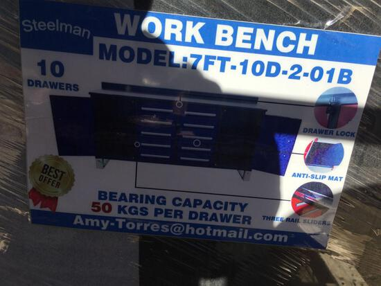 New Blue 7' Work Bench 10 Drawer - 2 Doors
