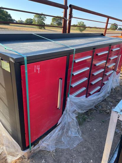 9' Unused 15 Drawer Workbench with 2 Doors