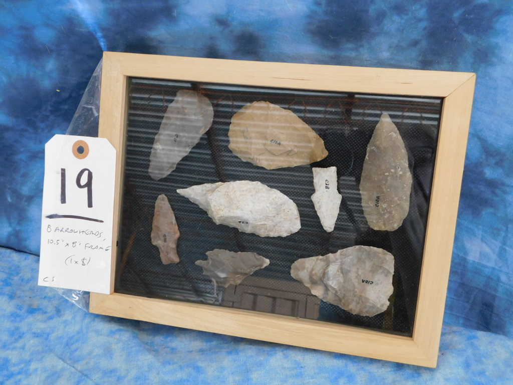 "8 ARROWHEADS -10.5""x8"" FRAME (ONE$)"
