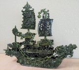 EXQUISITE CARVED JADE BOAT, 15.25