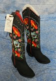 MULTI-COLOR FLORAL EMBROIDERED BLACK LEATHER WESTERN DRESS BOOTS, WOMEN'S US SIZE 7.5 (RUN SMALL), N