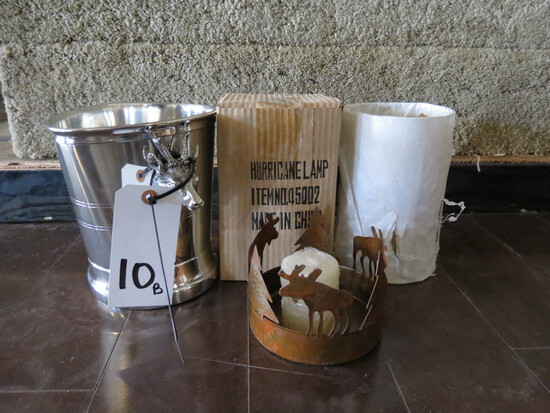 2 MOOSE HURRICANE LAMPS & 1 STAG PEWTER ICE BUCKET (DAMAGED)(ONE$)