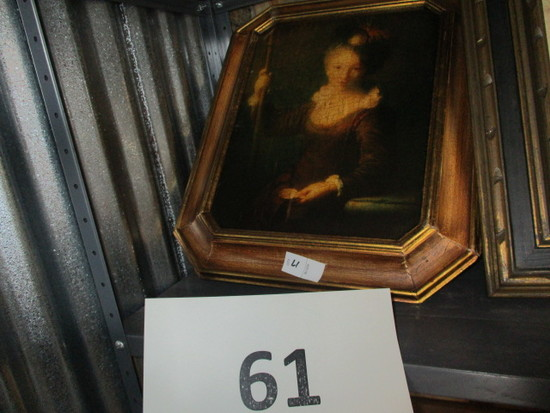 Framed painting of lady Giovane Pellerina