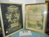 2 vintage matrimony & Death certificates