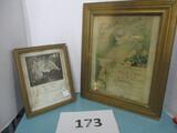 2 vintage baptism certificates