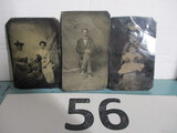 Lot of 3 vintage tin type Photographs