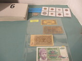 Foreign coin and currency lot