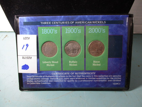 3 centuries of US Nickels set