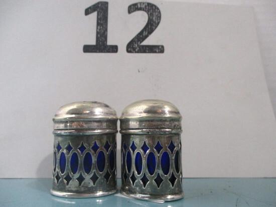 Sterling silver salt and pepper cobalt blue