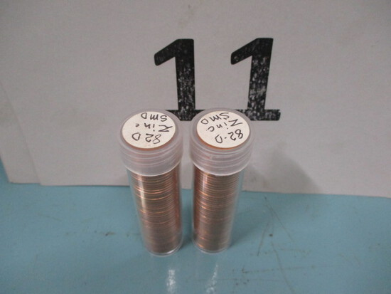 2 Rolls 1982 D Small date pennies UNC