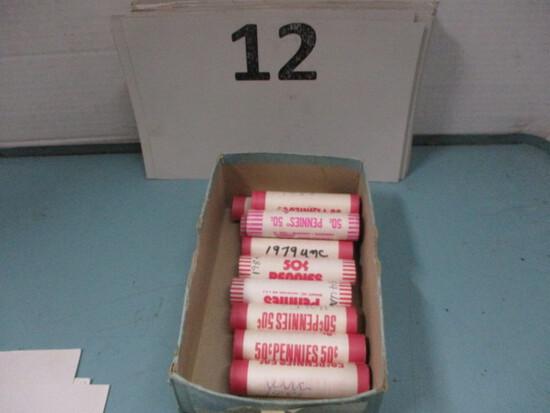 10 rolls UNC pennies 1970's-80's