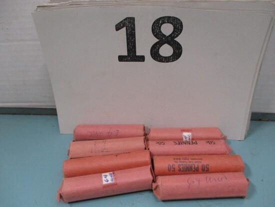 8 rolls 1964 Pennies UNC