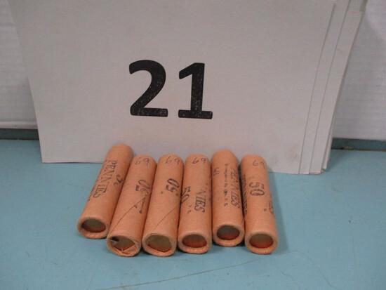 6 Rolls 1969 pennies UNC