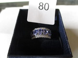 sterling silver ring w/ blue and clear stones