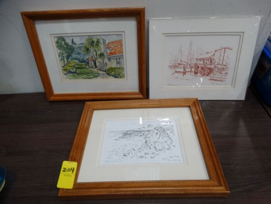 (3) Small prints signed by  Frank A Gusdorf