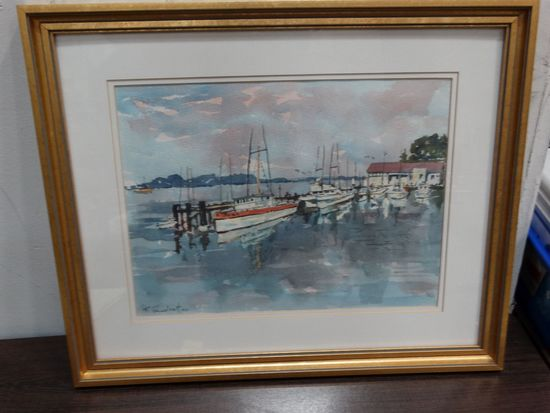 FRANK GUSDORF water color, Boats in Bodega Bay